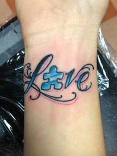 autism puzzle piece wrist tattoo | Love Autism Awareness Tattoo Puzzle Pieces Tattoos Pretty But