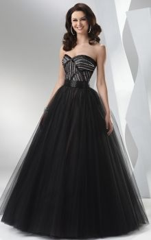 Black Ball Gown Strapless,Sweetheart Empire Long/Floor-length Sleeveless Satin,Tulle Lace-up Prom Dresses Dress