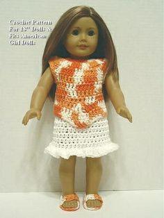 Crochet Pattern PO25 for 18' Dolls Skirt Top Sandals Fits American Girl Dolls | eBay.