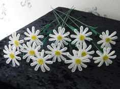 12 French beaded flowers white daisy by LaurasBeadCreations, $55.99