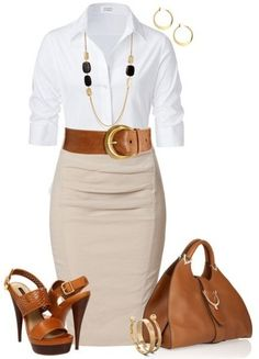 Look dia e noite:Blusa branca,saia bege e acessórios This skirt and blouse are gorgeous! Shoes, yea I'd break my ankles Mode Outfits, Office Outfits, Casual Outfits, Outfits 2016, Casual Office, Office Chic, Smart Office, Office Style, Casual Chic