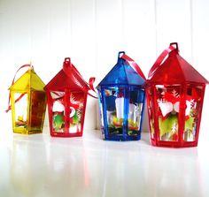 4 Vintage Jewelbrite Lantern Ornaments via Etsy (had these too).