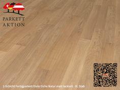 2-Schicht Fertigparkett Diele Eiche Natur matt lackiert - XL Stab Format: 1200 x 120 x 11 mm 100 M2, Hardwood Floors, Flooring, Texture, Crafts, Cook, Recipes, Wood Floor, Plank Flooring