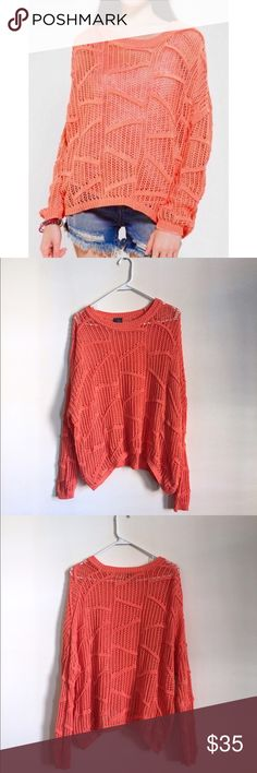 UO Sparkle & Fade Orange Open Knit Sweater 80's inspired orange/coral open knit sweater from Sparkle & Fade by Urban Outfitters. Very good condition. No noticeable flaws. Oversized fit. Low shoulder hem. Urban Outfitters Sweaters Crew & Scoop Necks