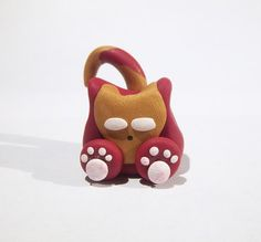 Iron Man Inspired Kitty Cat  - Made to Order Figurine Ornament or Magnet Polymer Clay