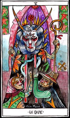 The Hierophant , watercolor on paper, Wilder Mann Tarot by marie meier ( www.mariemeier.fr )