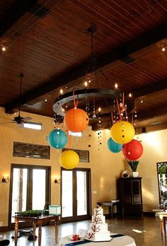 Colorful paper lanterns and mirrored strands