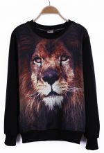 #SheInside Black Round Neck Long Sleeve Lion Print Sweatshirt $32.26