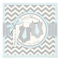 Blue Ties & Chevron Print Twin Boys Baby Shower 2 Custom Invitations