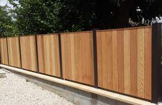 Clôture mixte bois red Cédar et aluminium, très sobre, très chic !