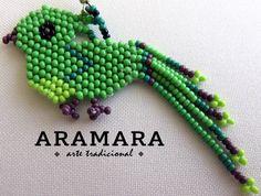 Mexican Huichol Beaded Green Bird Earrings AO-0048 by Aramara