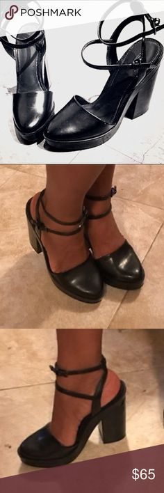 ZARA chunky heel platforms Pointed closed toe, signs of usage and scuffs will post more pictures soon. Extremely chic and comfortable. Approximately 3.8 inches 1.5 inch platform. Zara Shoes