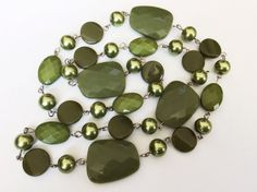 Vintage Green Necklace Trapezoid Beaded by JacobandCharlies