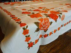 Vintage Rose Print Linen Tablecloth 52 X 72 by PamelaMurphyVintage, $40.00