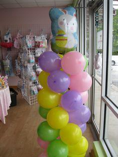 Easter Bunny balloon column