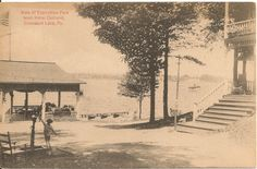 View of Exposition Park From Hotel Oakland Conneaut Lake PA Postcard 1917