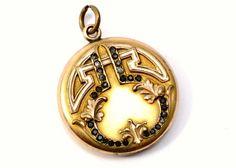 Antique Art Nouveau W & H Co signed gold filled repousse rhinestone locket pendant *** $120 at Pipit Vintage