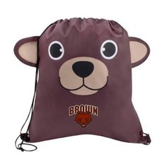 The Custom Branded Paws & Claws Bear Drawstring Backpack has a bear face with fun 3-dimentional features, double drawcord closure, and a large imprint area