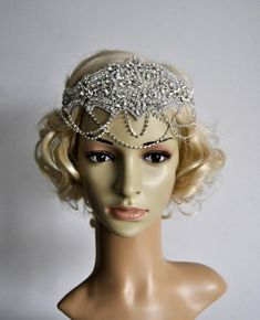 Rose gold Crystal and pearl hair chain bridal headpiece 1920s headpiece Art Deco hair chain gatsby style hairpiece vintage style headpiece h
