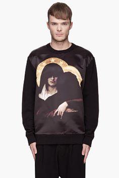 Givenchy Black Satin-front Gangster Madonna Sweatshirt for men | SSENSE
