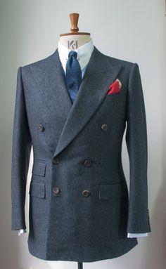 Edward Sexton Red shoelace pocket hanky look Mens Tailored Suits, Mens Suits, Suit Fashion, Fashion Outfits, Mens Fashion, Mens Club Outfit, Black Leather Dresses, Pinstripe Suit, Black Suits