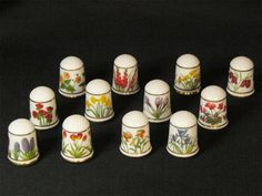 FRANKLIN PORCELAIN U.S.A.  The Flowers of Holland Thimble Collection