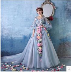 2015 Wedding Dress adorned with flowers