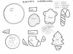 Web Chest: Patterns ornaments Christmas tree with felt Felt Ornaments, Christmas Tree Ornaments, Christmas Decorations, Christmas Love, Christmas Holidays, Christmas Ideas, Felt Art, Stuffed Toys Patterns, Felt Crafts