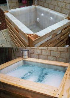 DIY Upcycled Pallet Hot Tub is perfect for the DIY guru who wants to try a fun new project! Hot tubs are great for relaxing and this DIY version is a fun one to have! sauna whirlpool 12 Relaxing And Inexpensive Hot Tubs You Can DIY In A Weekend Jacuzzi Outdoor, Diy Hottub, Outdoor Baths, Outdoor Kitchen Countertops, Palette Diy, Outdoor Kitchen Design, Diy Furniture, Rustic Furniture, Outdoor Furniture