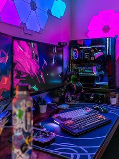 Gaming Desk Setup, Computer Gaming Room, Gamer Setup, Computer Setup, Pc Setup, Gaming Rooms, Home Music, Bedroom Setup, Video Game Rooms