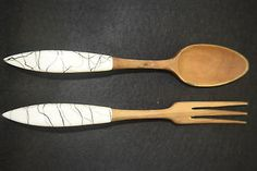 Hazel Atlas Drizzle Salad Fork and Spoon - Wood and Ceramic