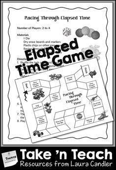 Elapsed Time Game (Racing Through Elapsed Time) - Great for partner practice, cooperative learning team play, or math centers! $