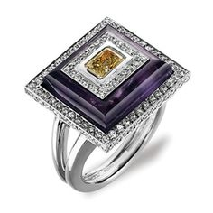 C0001 Ancora Amethyst, citrine and diamond fashion ring