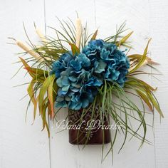 Thanks for visiting my shop, Island Wreaths!  Floral Bouquet. All Faux Silk floral components. Hydrangea Flowers of ocean blue colors, artfully set
