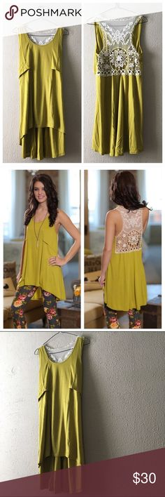 """Lace Back HiLo Tunic Tank Perfect for spring beautiful chartreuse tank top with delicate and elegant Lace back. High hem in front, longer hem in back. Has a relaxed flow fit. Length: front/back Small: 27""""/35"""" Medium: 28""""/36"""" Large: 29""""/37""""//Bust--Small: 17"""" Medium: 18"""" Large: 19""""//PRICE FIRM UNLESS BUNDLED Infinity Raine Tops"""