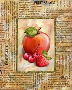 Mixed Fruit I by Abby White art print Vintage Diy, Vintage Labels, Speckled Eggs, Fruit Slice, Mouth Watering Food, Mixed Fruit, Decoupage Paper, Kitchen Art, Kitchen Rustic