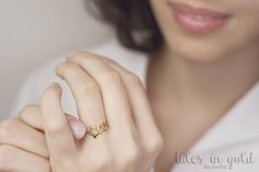Gold Ring, Star Ring, 14 karat gold Ring, Double Star Ring, Minimal Jewelry, Dainty Ring