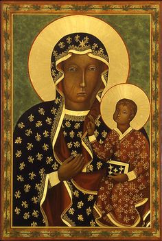 Black Madonna of Częstochowa (Jasna Góra Monastery in Czestochowa, Poland. Divine Mother, Mother Mary, Our Lady Of Czestochowa, Immaculate Conception, Madonna And Child, Blessed Virgin Mary, Religious Icons, Blessed Mother, Pilgrimage