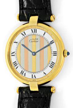 Foto 2, Cartier Ronde Vermeil 925 Sterling Vergoldet Herren-Uhr, U2069