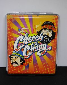 Cheech & Chong Orange Silver Framed PU Leather 100s Size Cigarette Case