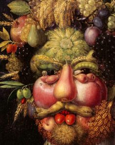Giuseppe Arcimboldo's portrait of the Holy Roman Emperor Rudolph II as Vertumnus. Inspiration for Boldo, the soup genie, in The Tale of Despereau Giuseppe Arcimboldo, Photo Images, Ecole Art, Fruit Art, Italian Artist, Weird Art, Realism Art, Art Plastique, Teaching Art