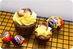Creme Egg Cupcakes with frosting that tastes JUST like Creme Egg filling! A perfect Easter treat