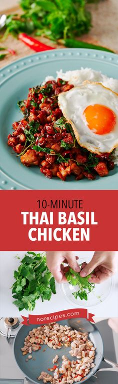Spicy and garlicky with a savory sweet glaze and fragrant basil, this street food style Thai Basil Chicken (Pad Kraprow Gai) in just 10 minutes. Food Dishes, Main Dishes, Rice Dishes, Thai Basil Chicken, Cooked Chicken, Asian Recipes, Ethnic Recipes, Chinese Recipes, Chinese Food