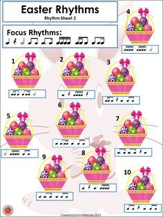 Rhythm and aural activities with an Easter theme. 17 pages