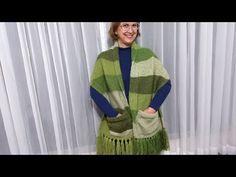 Cachicol com bolso em tricô nível básico por Neuzyvalim ❤️ - YouTube Street Look, Drops Design, Drops Baby, Plaid Scarf, Shawl, Creations, Knitting, Scarves, Youtube