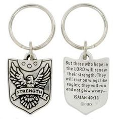 Strength Shield Pewter Key ring Christian Gift This lead-free pewter key chain features a shield with spread eagle and the strength banner. The back of the key chain is inscribed with Isaiah H x W. Homemade Fathers Day Gifts, Gifts For Dad, Fathers Day Verses, Wings Like Eagles, Isaiah 40 31, Perfect Gift For Dad, Spiritual Gifts, Religious Gifts, Christian Gifts