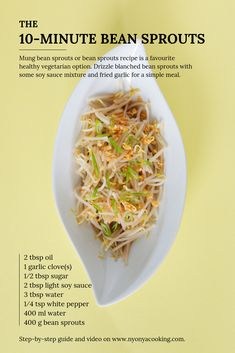 Mung bean sprouts or bean sprouts recipe is a favourite healthy vegetarian option which is often paired with Hainanese chicken rice. Drizzle blanched bean sprouts with some soy sauce mixture and fried garlic for a simple meal. Bean Sprout Salad, Bean Sprout Recipes, Bean Recipes, Vegetable Recipes, Fast Recipes, Noodle Recipes, Vegetarian Options, Vegetarian Recipes, Cooking Recipes