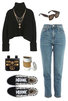 """""""Untitled #2359"""" by katerina-rampota ❤ liked on Polyvore featuring CÉLINE, Forever 21, Topshop, Vans and Gucci"""
