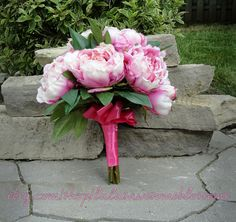 Bridal Bouquet hot pink and white silk peonies by LulusAwesomeBlossoms, $55.00