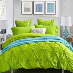 Solid Lime Green Pintuck Design Stylish and Elegant Luxury Personalized Satin Fabric Full, Queen Size Bedding Sets for Girls